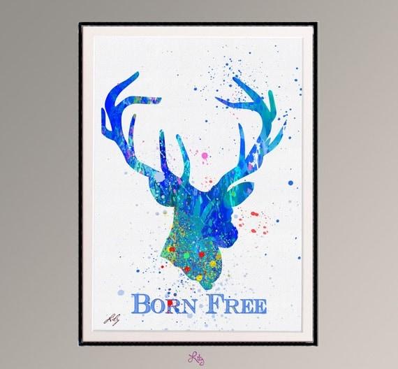 Le cerf avec art aquarelle citation originale n libre for Art minimaliste citation