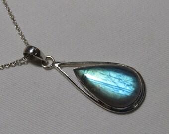 Labradorite pendant - Natural Blue Flashy Color Pendant Pear shape Pendant so Nice Blue Fire pendant