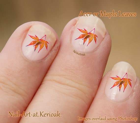 Thatleanne Firey Autumn Leaves Nail Art: Acer Leaves Nail Art, Maple Leaf Nail Art Stickers