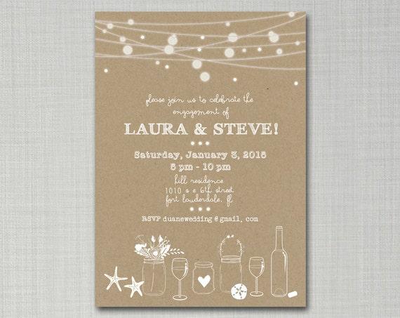 Rustic Romantic Wedding Invitations: Rustic Wedding Invitation With Cute Romantic Fonts And