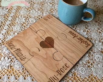 Laser Cut & Engraved Jigsaw Coasters Set of 4