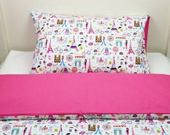 Bedding set - Paris & azalea + FREE PILLOW and DUVET