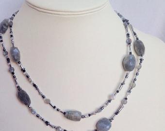 SALE. 25% off Labradorite,silver,hematite,quartz and chalcedony long necklace