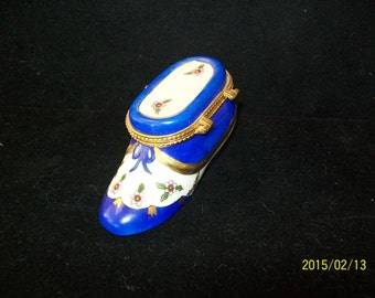 Cobalt & Floral Shoe Pill Box