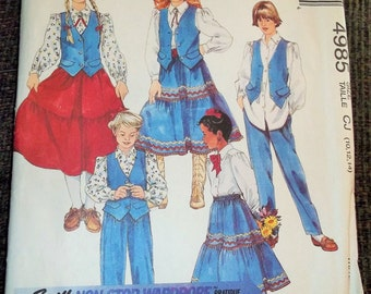 Vintage 1990 McCalls 4985 Sewing Pattern Girl's Vest, Blouse, Skirt, and Pants Size CJ 10 - 12 - 14