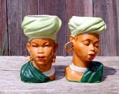 RESERVED FOR MULDY * Vintage African American Head Vases Set ~ Ceramic Planters, Turbans, Pearls, Earrings, Ethnic * Beautiful!