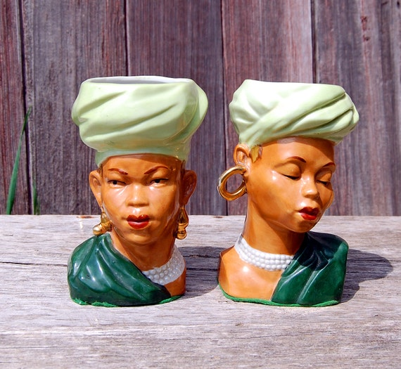 Reserved For Muldy Vintage African American Head Vases Set