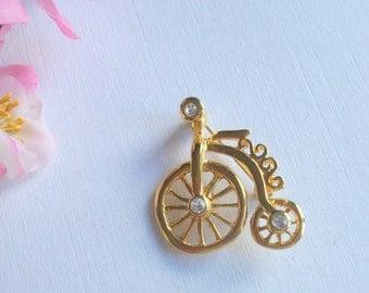 Vintage Goldtone Brooch, 'Penny Farthing' Bicycle Brooch, Rhinestone Brooch, Vintage Gift