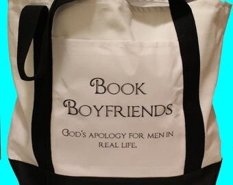 Book Lovers Large Canvas Tote Bag - Book Boyfriends - office bag - library bag - book bag - white and black