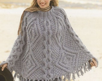 womens poncho knitting pattern 99p