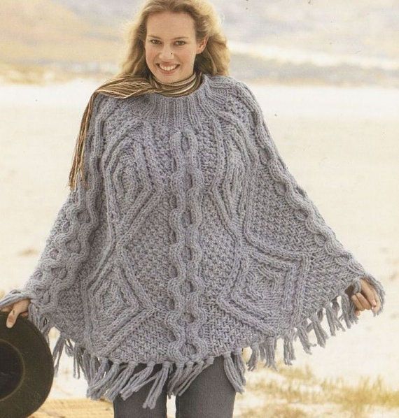 Knitting Pattern Ladies Cape : womens poncho knitting pattern 99p