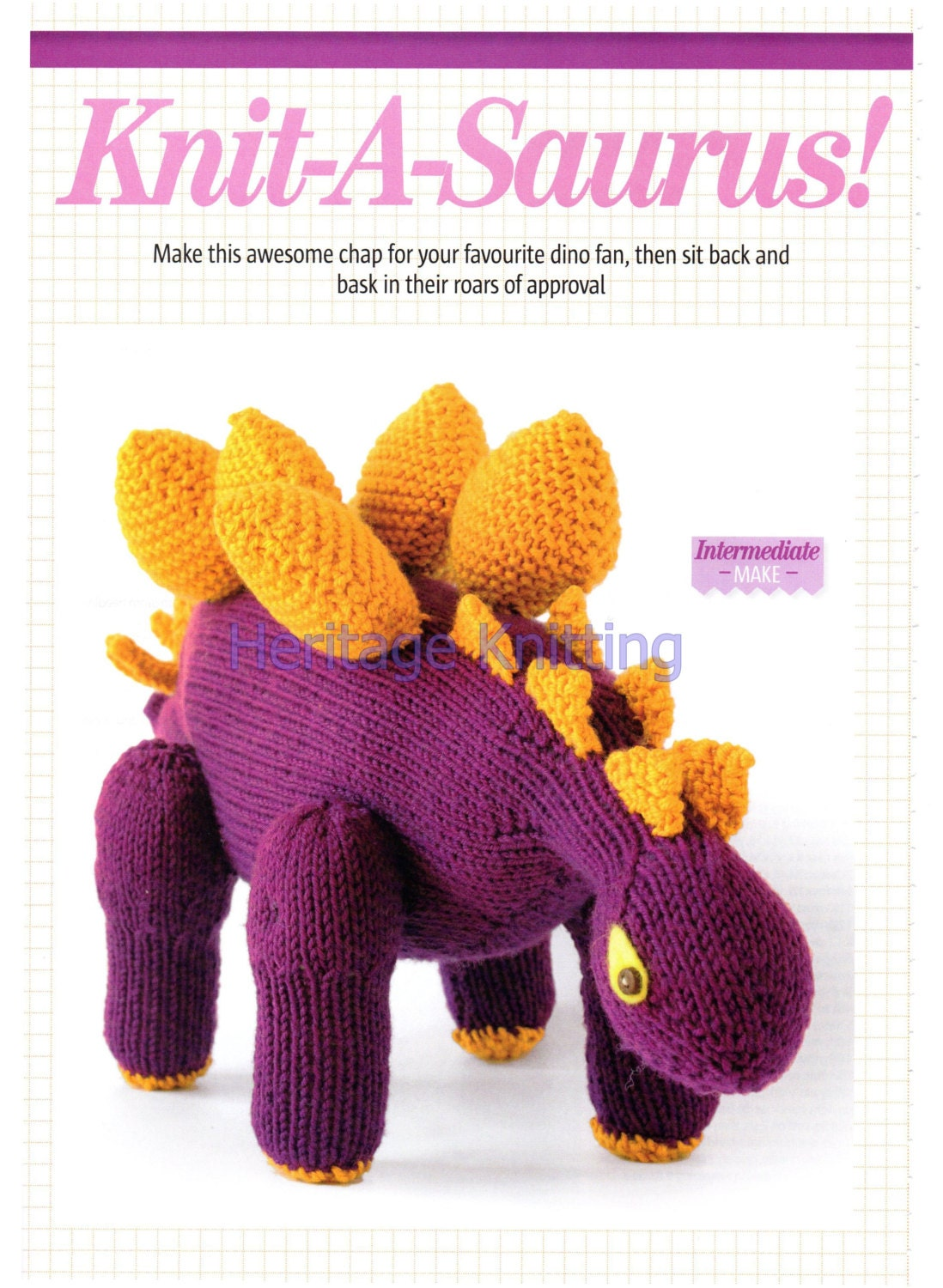 Knit Dinosaur Pattern : dinosaur toy dk knitting pattern 99p