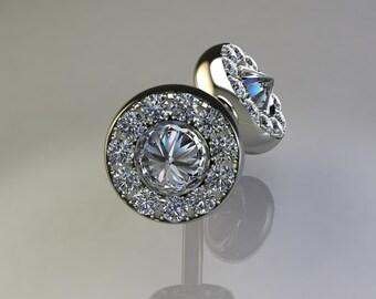 Stud Diamond Earrings- Cluster Diamond Earrings, Halo Diamond Earrings-