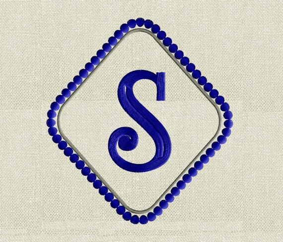 diamond dots font frame monogram embroidery design font not