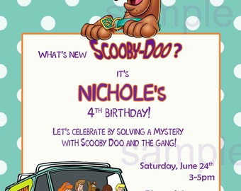 Scooby Doo Birthday Invitation, Digital (you print) With or Without Photo