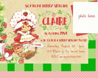 Vintage Strawberry Shortcake Birthday Invitation, Strawberry Shortcake Invitation. Digital (you print) With or Without Photo