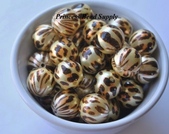 20mm Leopard Pearl Chunky Beads Set of 10,  Bubble Gum Beads, Gumball Beads, Acrylic Beads