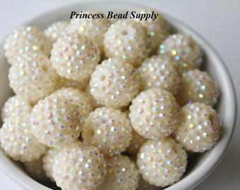 20mm Ivory AB Rhinestone Chunky Beads Set of 10,  Bubble Gum Beads, Gumball Beads, Acrylic Beads