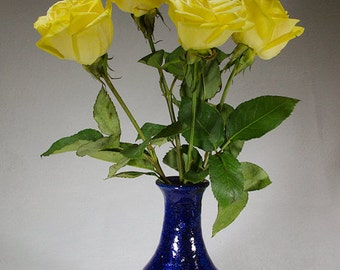 Cobalt and white stoneware flower vase.