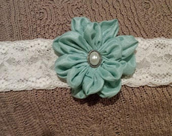 Lace Headband with Dusty Blue Flower
