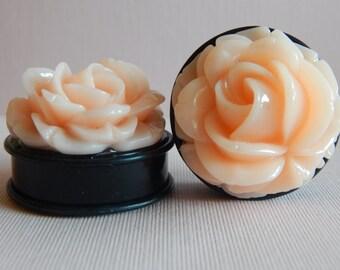 1 3/8 inch Plugs, Roses, Blush, Resin, Acrylic