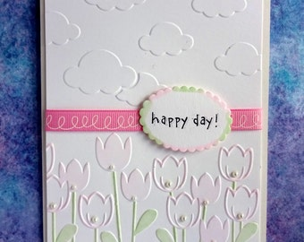 Summer Card, All Occasion Floral For Her, Simple Birthday Thank You Card For Mom Friend Sister, Fancy Embossed, Pink Tulips, Blank Card