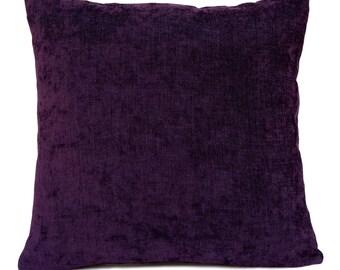 Dark Purple Pillow, Throw Pillow Cover, Decorative Pillow Cover, Cushion Cover, Pillowcase, Accent Pillow, Sparkly Pillow, Velour Blend