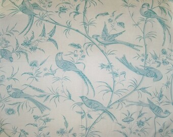 BRUNSCHWIG & FILS BENGALI Birds Toile Fabric 10 Yards Aqua Off White