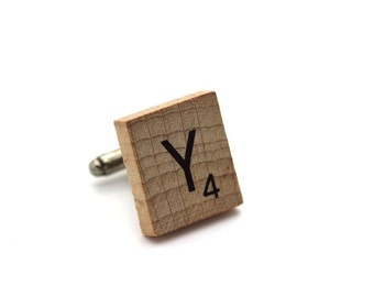 Wooden Scrabble Letter Cufflinks. ( Sold individually ) . Letter Y . SKU005521