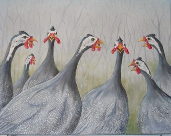 Acrylic Painting Print, Original Art Print, Artwork Print, Guinea Hens, Artwork, Inspirational Art