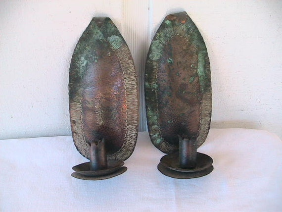 Vintage Copper Wall Sconce Hammered Metal by DeepCreekShabbyDecor