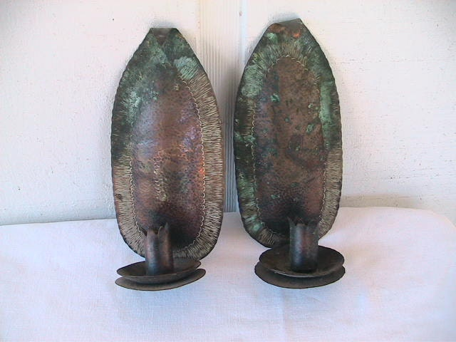 Hammered Copper Wall Sconces : Vintage Copper Wall Sconce Hammered Metal by DeepCreekShabbyDecor