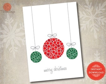 Instant Download- Christmas Card With Hanging Ornaments made of Dots