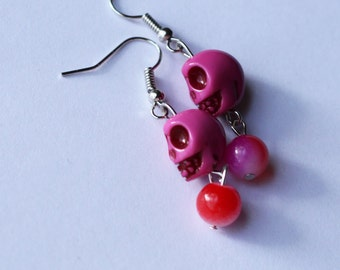 Sugar Skull Earrings - Bright Pink