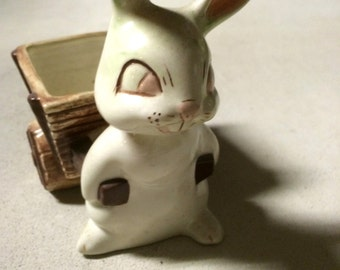 Vintage Duncan Ceramic Easter Bunny with Cart