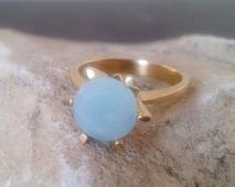 SALE!  Natural aquamarine ring,customize rings,milk aquamarine jewelry,blue ring,sea foam ring, gold ring,small prong ring