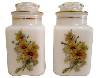Midcentury White Glass Canisters w/ Daisies, Pair