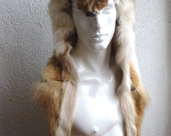 Brand new natural coyote head & tail fur hood hat men man one size custom made