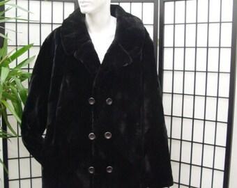 Brand new black sheared beaver fur jacket coat peacoat  for men man size all custom made