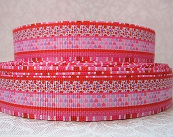 7/8 inch Pink and Red Horizontal Patterns  -  Valentine's day Love Printed Grosgrain Ribbon for Hair Bow