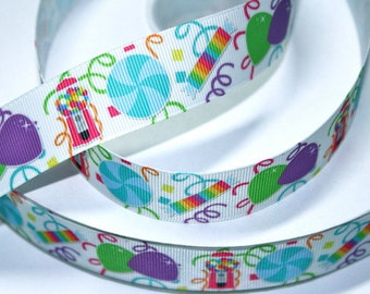 1 inch Candy Party (new) on White - Printed Grosgrain Ribbon