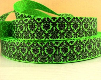 1 inch Black Damask with Silver Glitter on Neon Green  - Printed Grosgrain Ribbon for Hair Bow