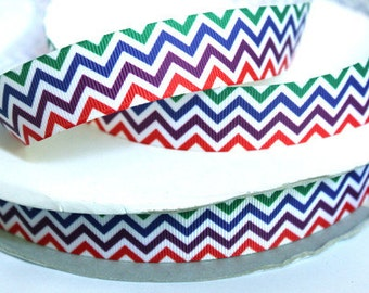 1 inch CHEVRON Green, Blue, Purple and Red - Printed Grosgrain Ribbon for Hair Bow