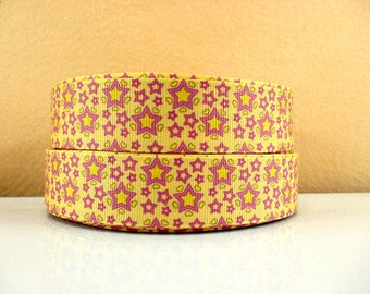 1 inch Pink Stars on Pretty Yellow - Printed Grosgrain Ribbon for Hair Bow