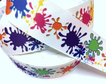 1.5 inch Color Splashes On White - Thick - Printed Grosgrain Ribbon for Hair Bow