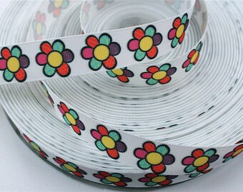 7/8 inch Flowers Colorful Patches - Flowers - Printed Grosgrain Ribbon for Hair Bow