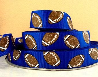 7/8 inch Glitter Footballs / Football on ROYAL BLUE SPORTS Printed Grosgrain Ribbon for Hair Bow