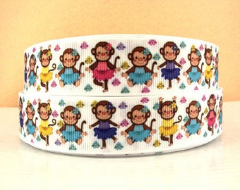 1 inch MONKEYS - COLORFUL DRESSES - Printed Grosgrain Ribbon for Hair Bow