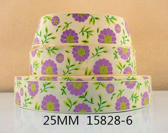 1 inch - BEAUTIFUL Lavender Purple Flowers on Pale Yellow 15828-6  - Printed Grosgrain Ribbon for Hair Bow