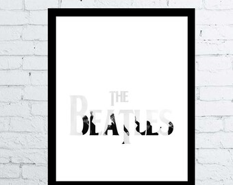 The Beatles printable wall art decor / poster, The Beatles digital typography posterbirthday gift, beatles black and white, minimal beatles